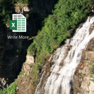 Desktop icon over background image of waterfall
